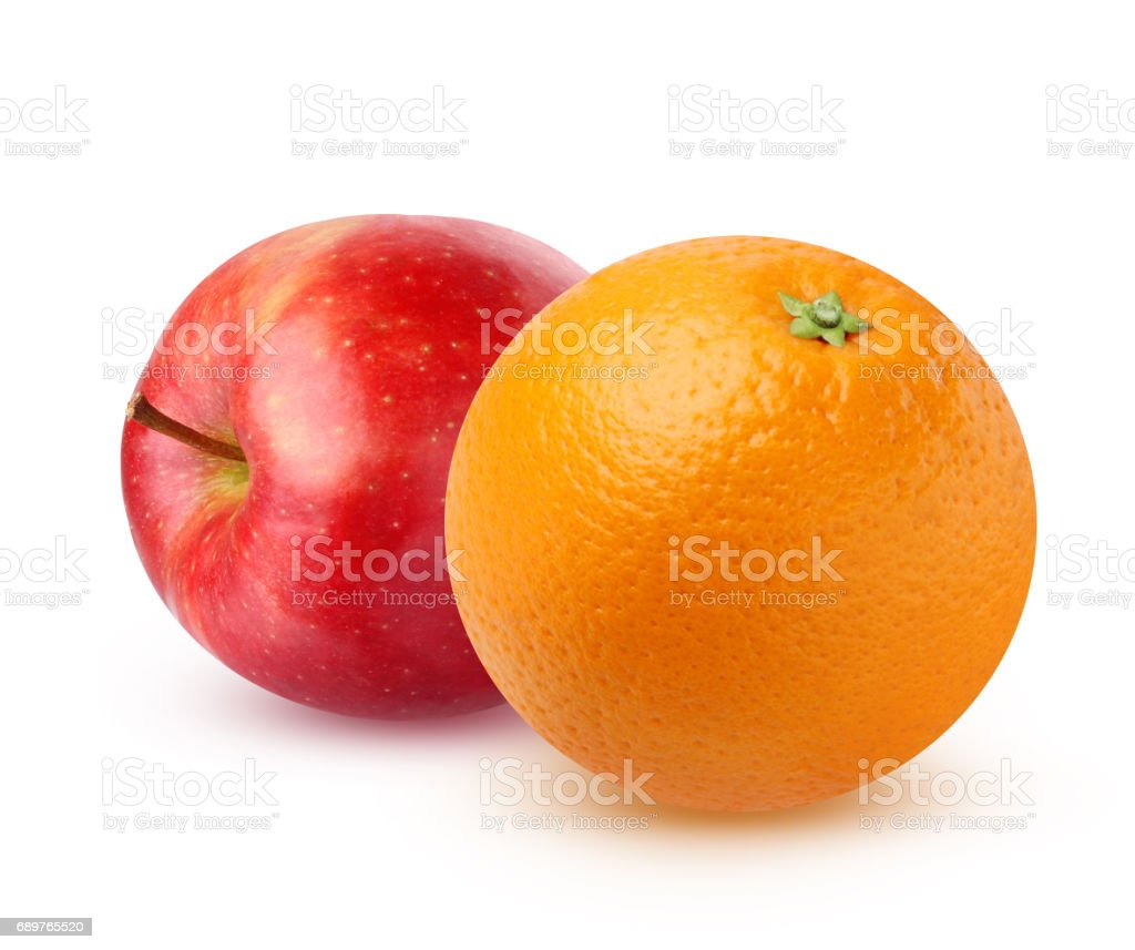 Orange and Apple, isolated on white background. stock photo