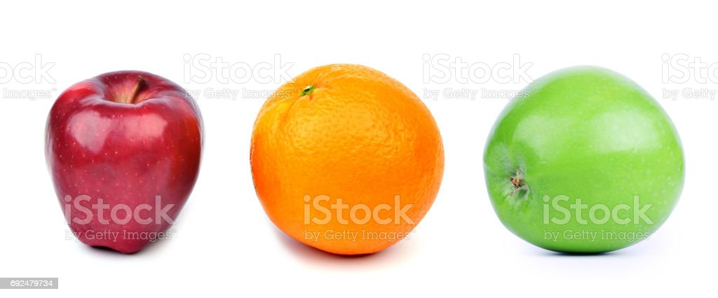 Orange and apples on white background, red, orange and green color. stock photo