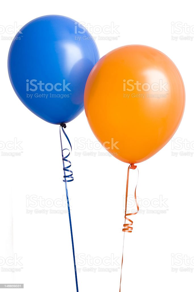Orange and Blue Balloon stock photo
