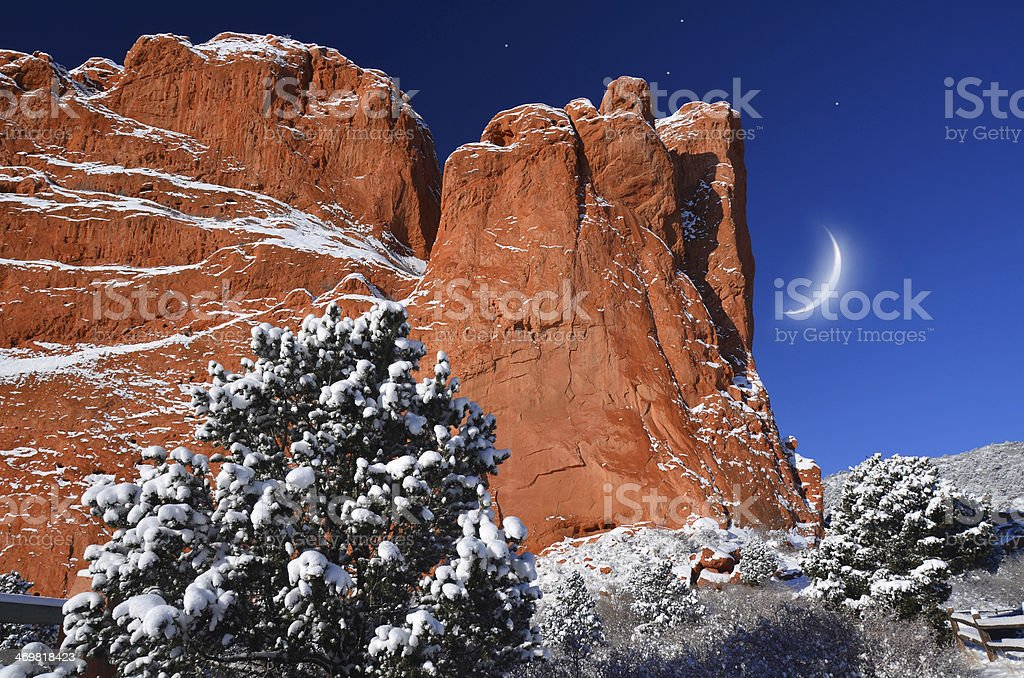 Orange and Blue Beauty at Garden of the Gods stock photo