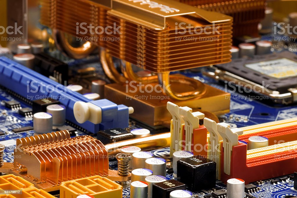 Orange and blue mainboard with technology details royalty-free stock photo