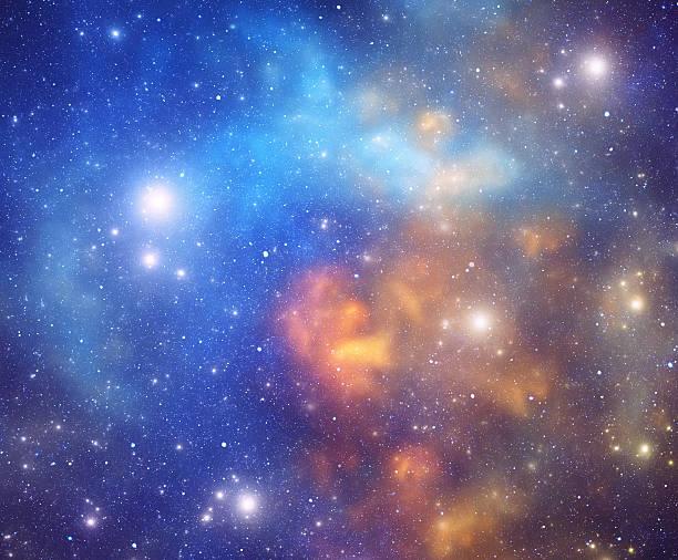 Orange and blue nebula stock photo