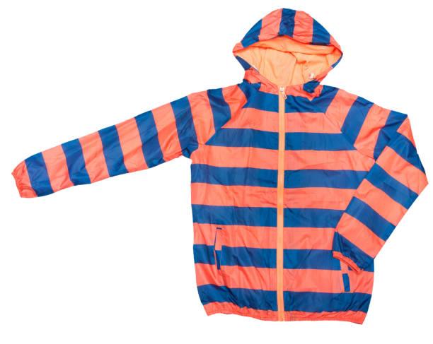 orangen und blauen streifen farbe muster windbreaker wasserdicht und regen beweis hoodies glänzende jacke durchgehender reißverschluss - zip hoodies stock-fotos und bilder