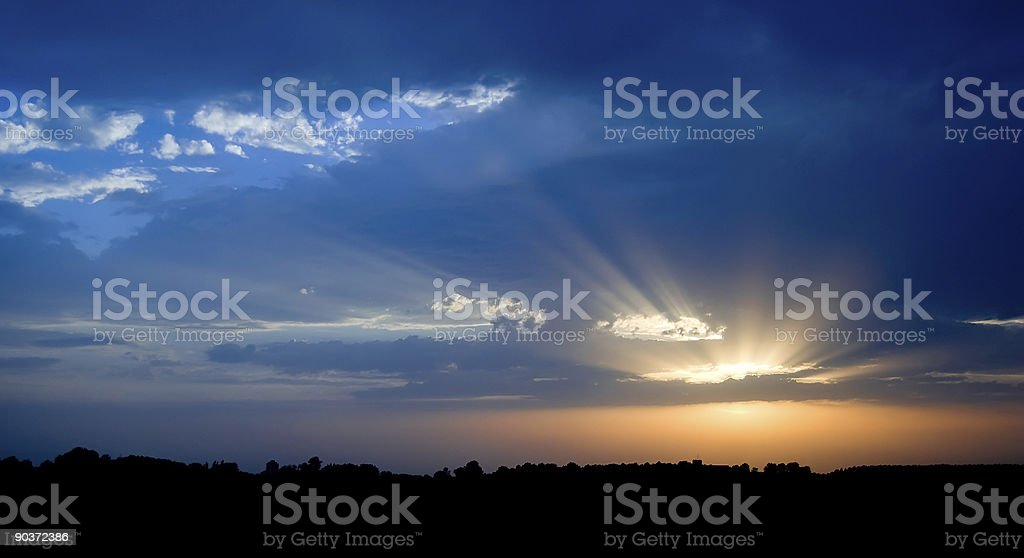 Orange And Blue Sunset royalty-free stock photo