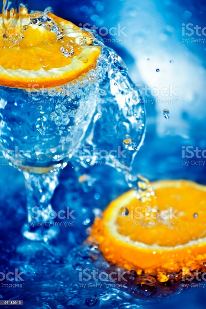 Orange and blue water royalty-free stock photo