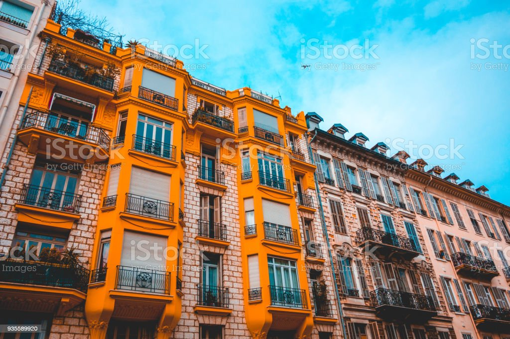 orange and brown residential houses for real estate themes stock photo