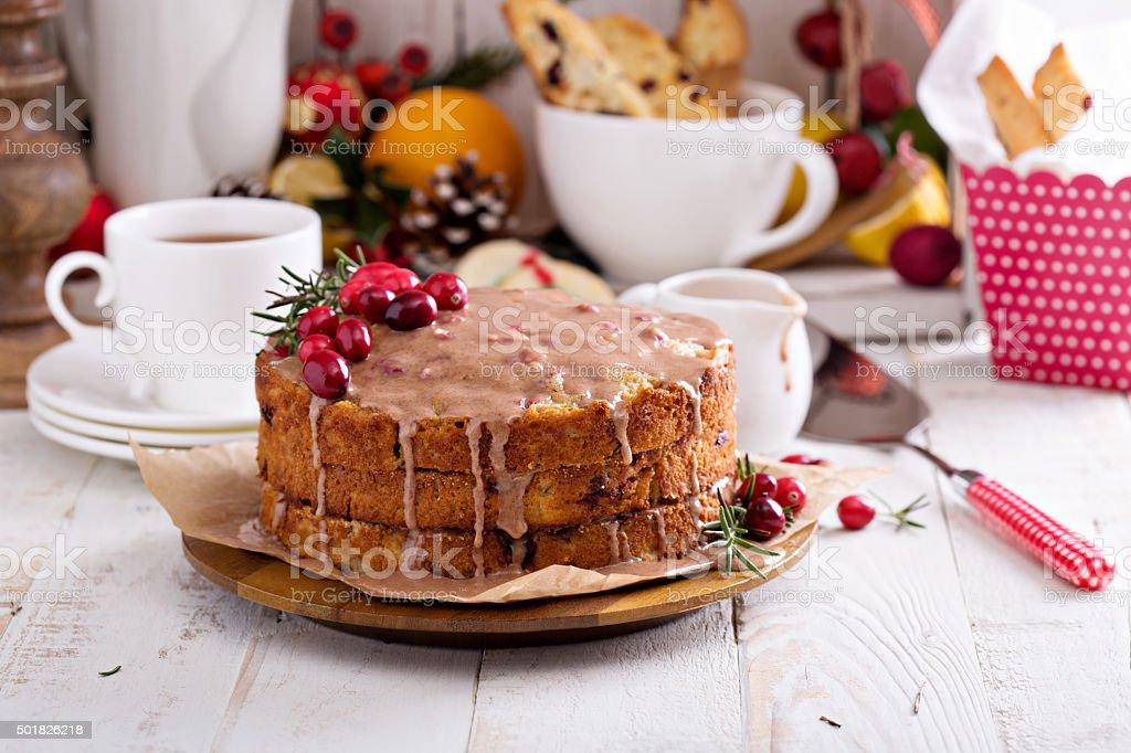 Cranberry Christmas Cake.Orange And Cranberry Christmas Cake With Glaze Stock Photo