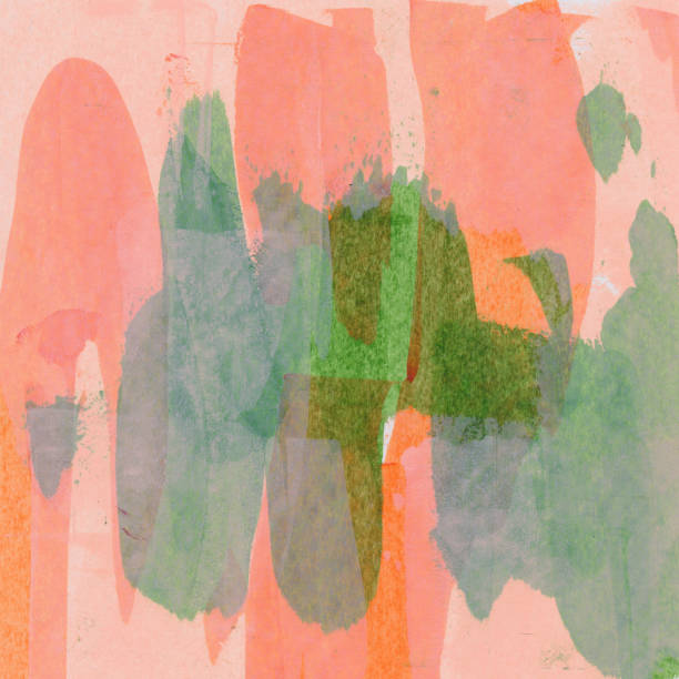 Orange and green brush strokes on paper