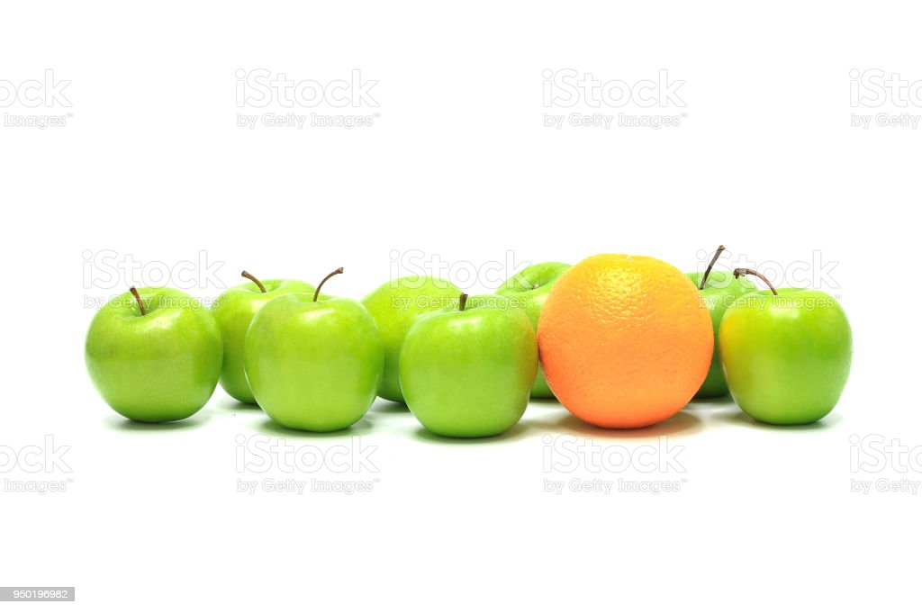 orange and group of apples stock photo
