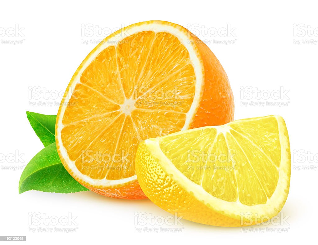 Orange and lemon slices isolated on white background stock photo