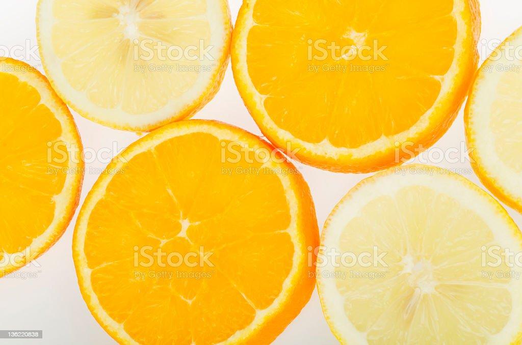 Orange and lemon slices royalty-free stock photo