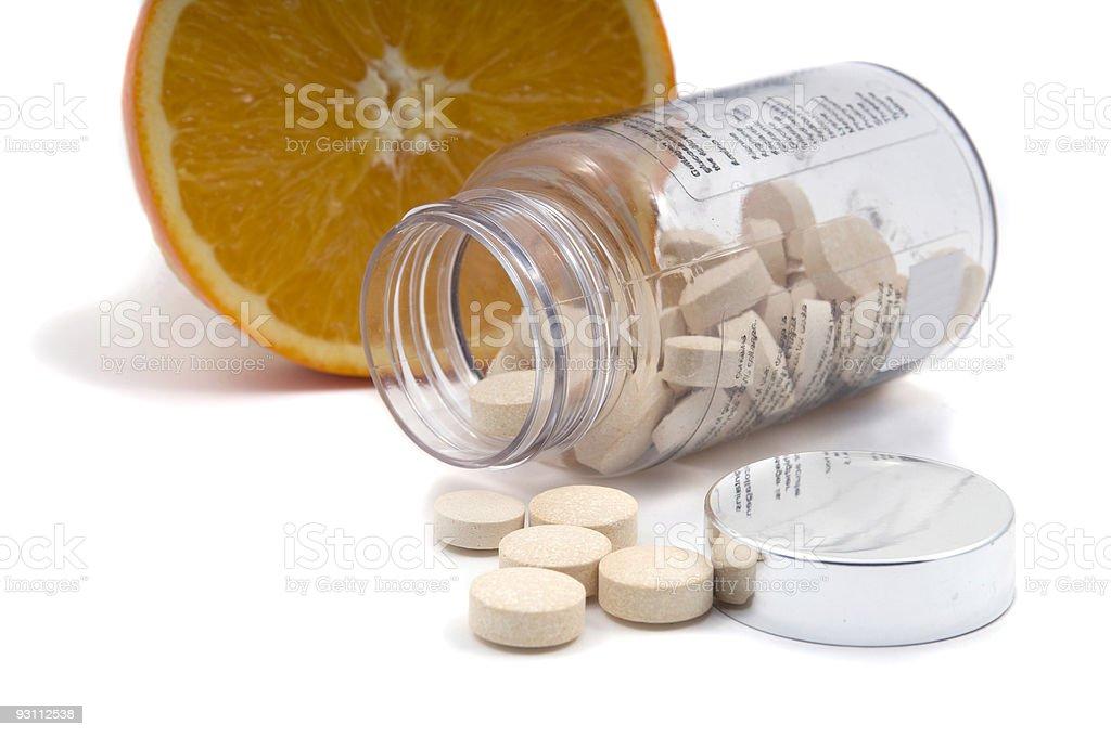 Orange and Pills - Royalty-free Beyaz Stok görsel