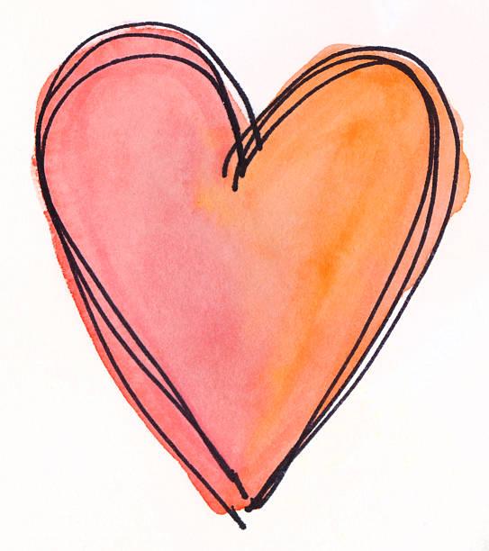 Orange und Rosa hand Gemalte Herz auf isoliert Weißer Hintergrund – Foto