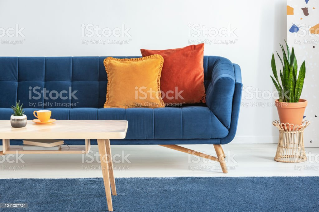 Picture of: Orange And Red Cushions On A Fancy Navy Blue Sofa And A Basic Wooden Coffee Table On A Blue Rug In A White Living Room Interior Real Photo Stock Photo Download