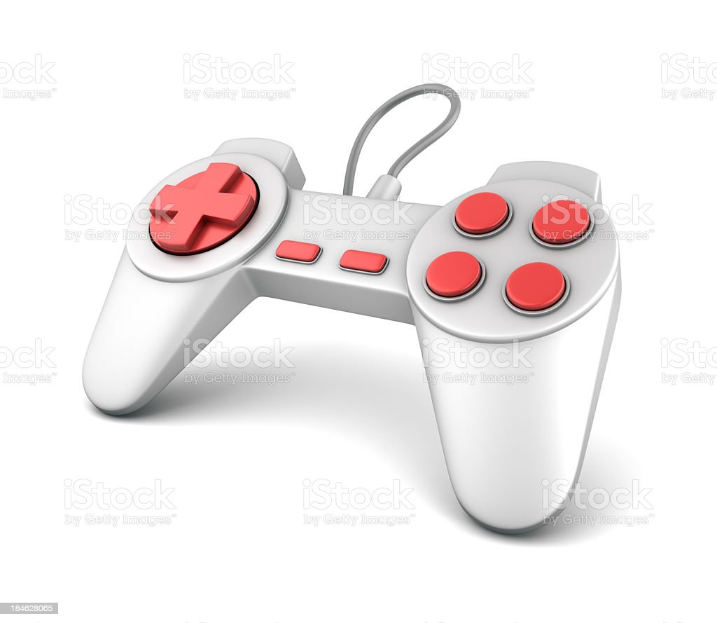 A orange and silver joystick game controller stock photo