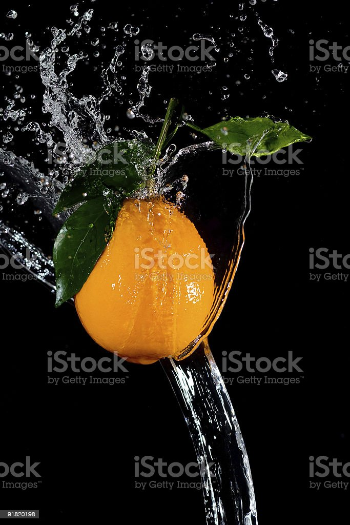 orange and waters splashes two