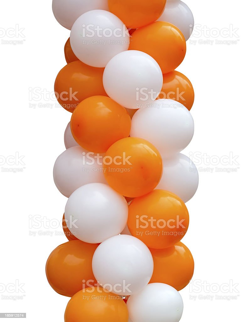 Orange and white balloons isolated stock photo