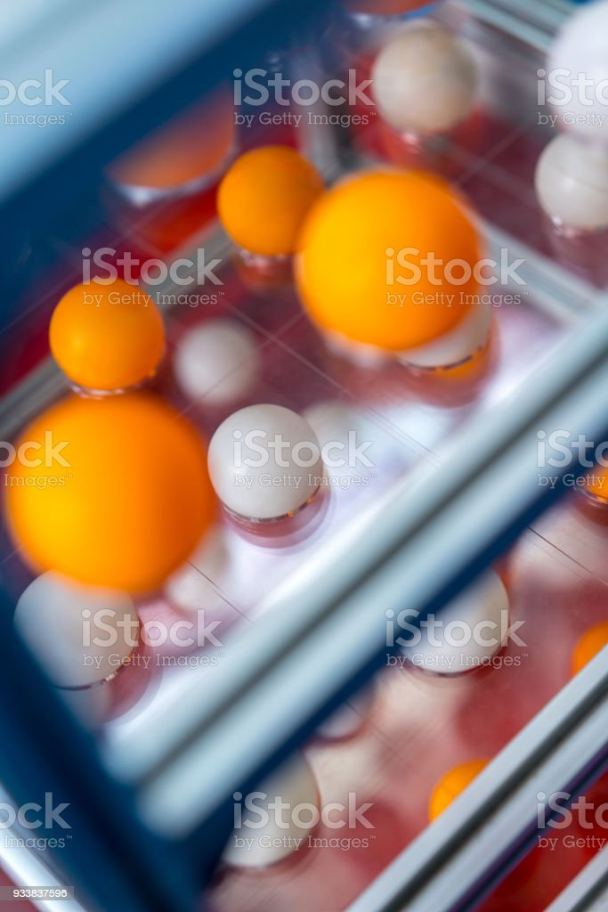 Orange and white balls floating in perspective view with shallow...
