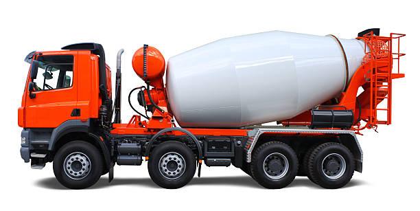 Orange and white cement mixer truck
