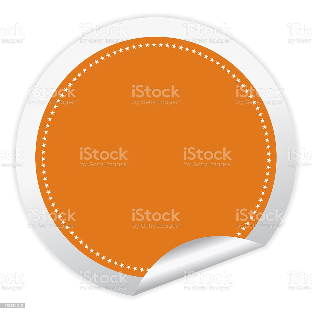 Orange and white circular sticker with stars royalty-free stock photo