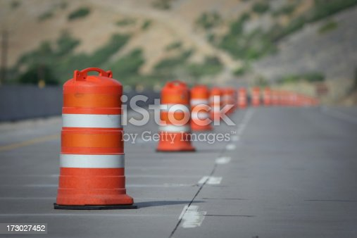 Construction lane closed, road work.