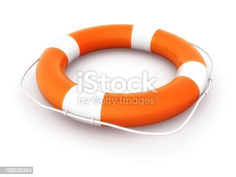 istock Orange and white lifesaving buoy 108505354