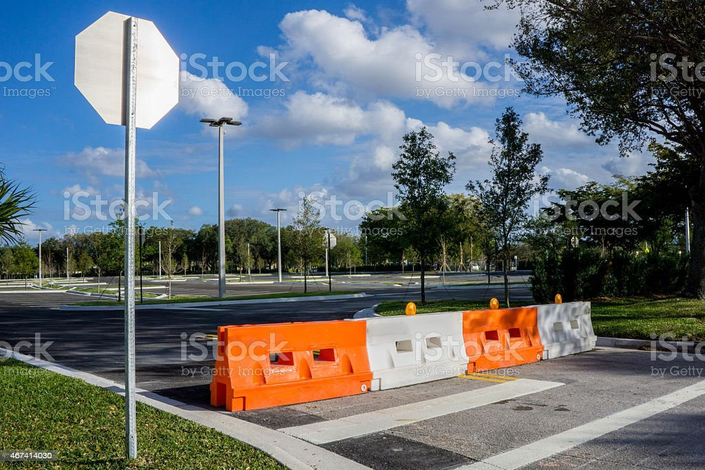 Orange and White Road Closed stock photo