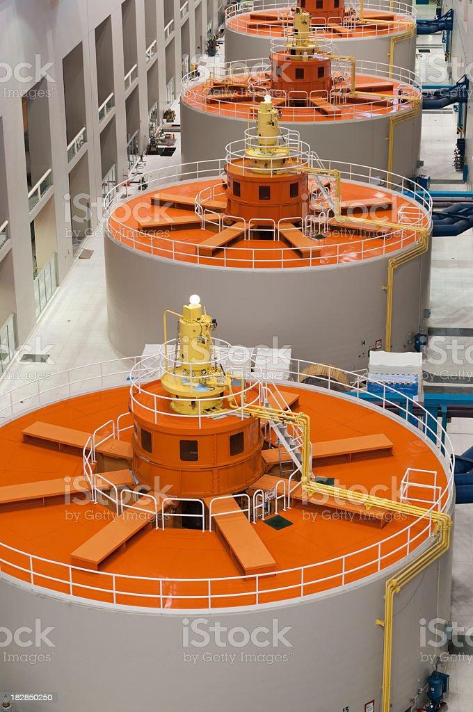 Orange and white round hydro-electric power generators  stock photo