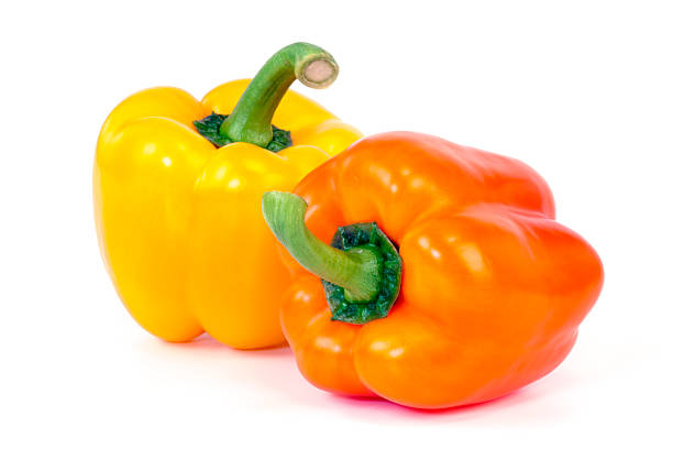 Orange and Yellow Bell Pepper stock photo