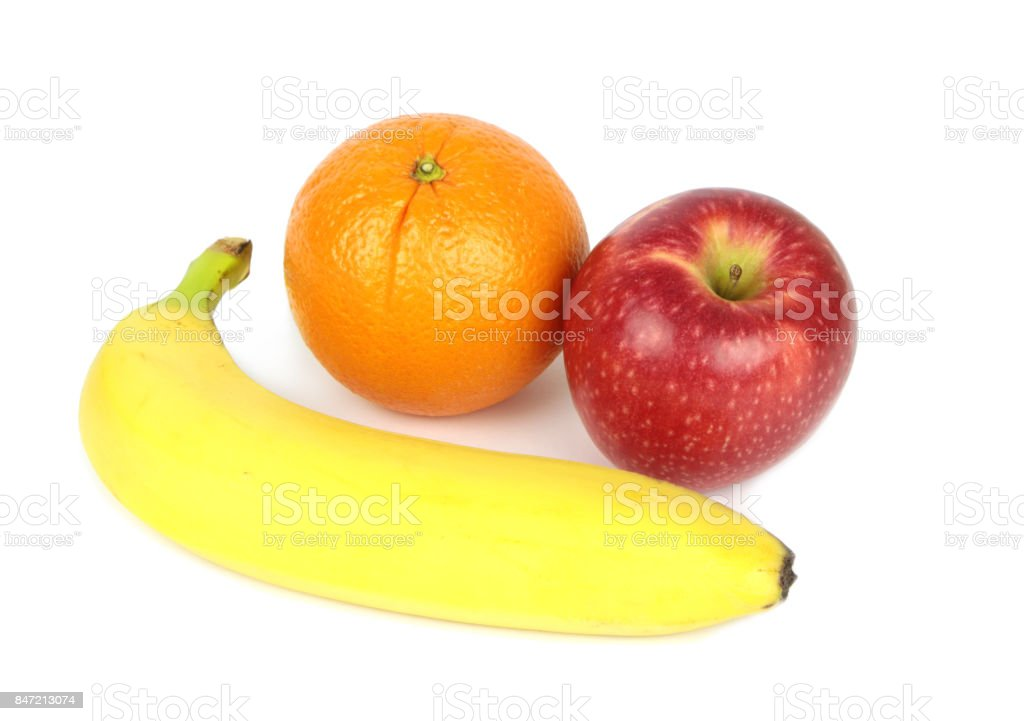 Orange, apple and banana stock photo