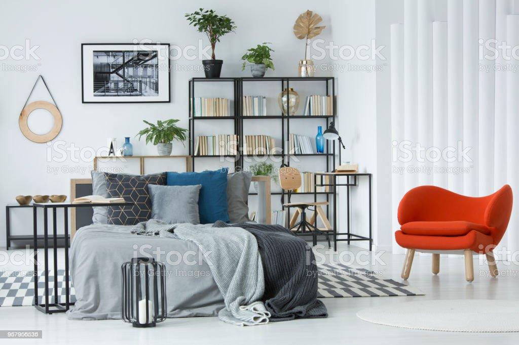 orange armchair in bedroom interior picture id