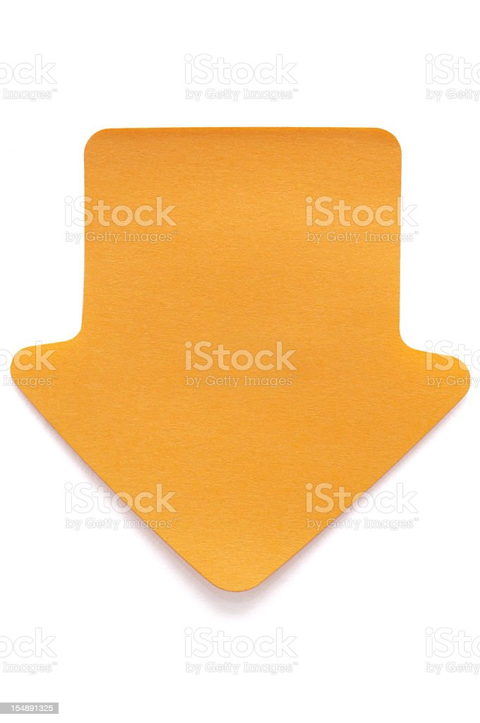 Orange arrow Post-it note on white royalty-free stock photo