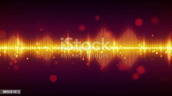 istock Orange audio digital equalizer technology background 985091812