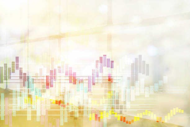 Orange background in the hall and foreground is graph indicates the positive direction. Empty space for text. Financial Economics Concepts. - foto stock