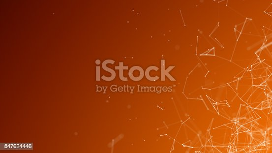 istock Orange Background With Connecting Line Fragments 847624446