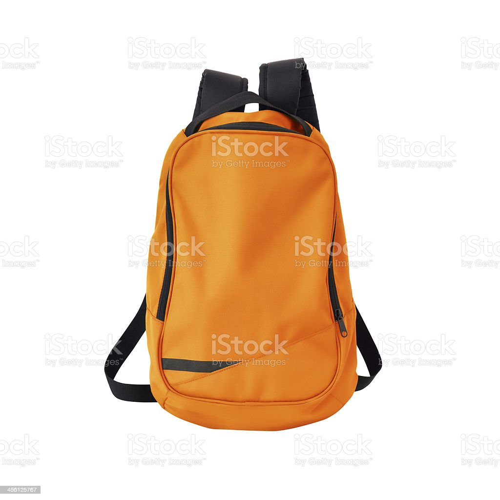 Orange backpack isolated with path stock photo