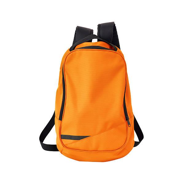 arancio zaino isolato con percorso - cartella scolastica foto e immagini stock