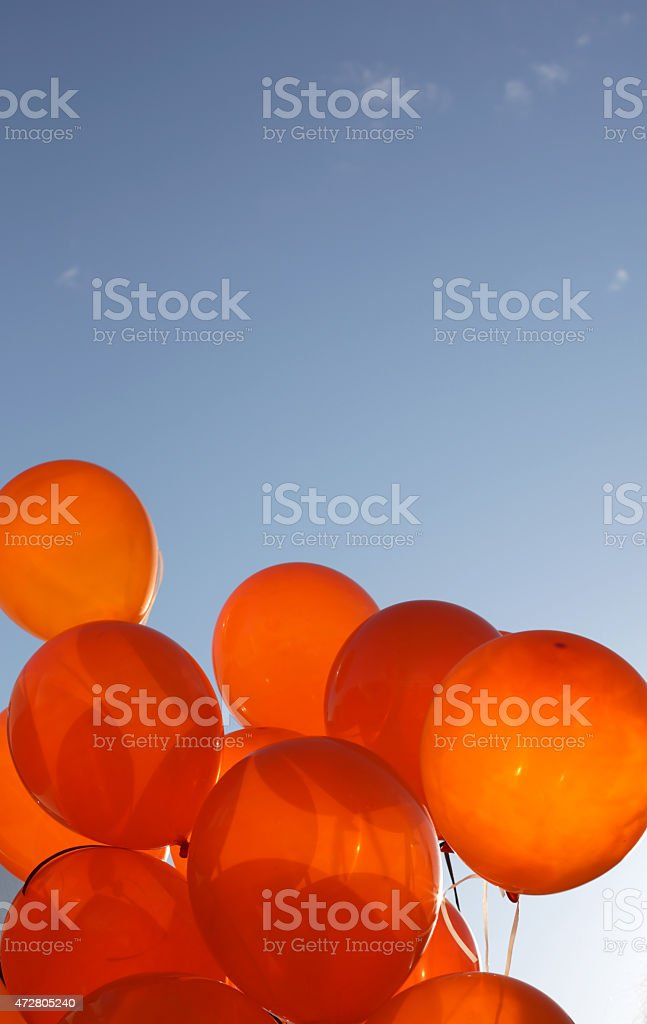 Orange Balloons and Blue Sky over Canada stock photo