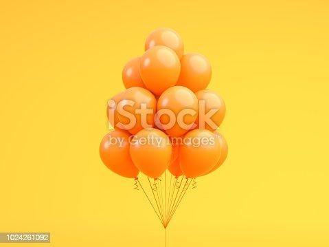 istock Orange balloons floating in Orange