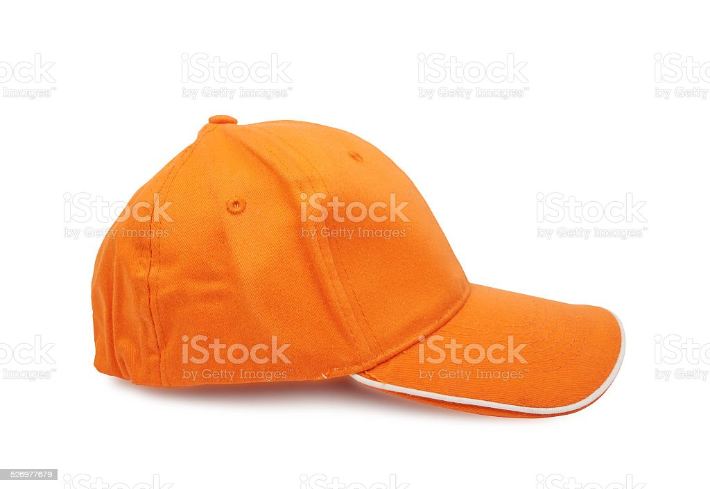 Orange baseball cap stock photo