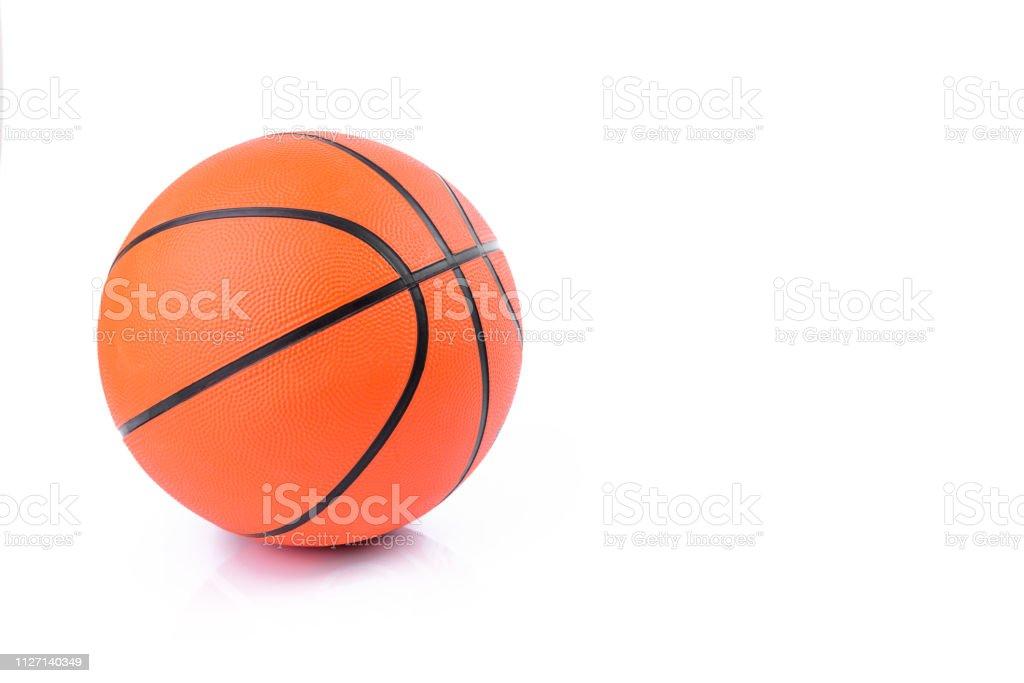Orange basketball isolated on white background stock photo