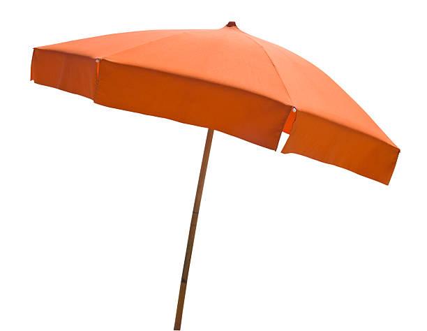 orange beach umbrella, isoliert auf weiss - outdoor sonnenschutz stock-fotos und bilder