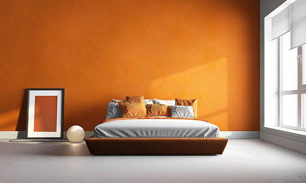 orange chambre à coucher - orange couleur photos et images de collection