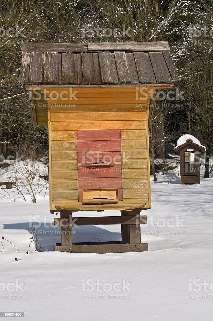 Orange Beehive and Brown One in Winter royalty-free stock photo