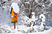 orange birdhouse in the garden in winter covered with snow