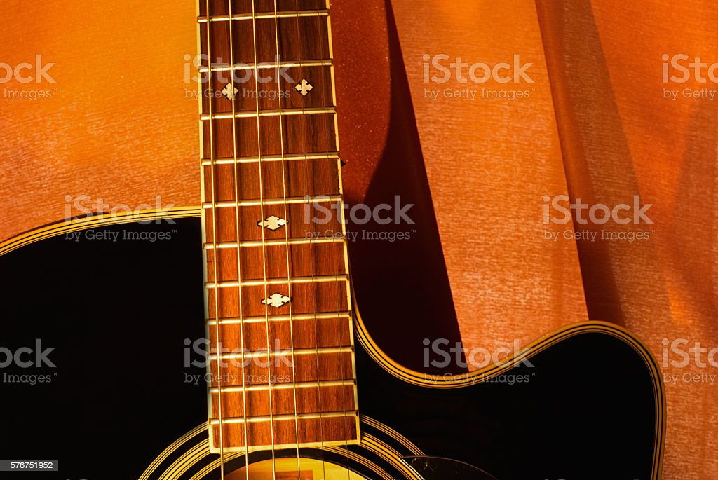 Orange Black Acoustic Guitar Stock Photo More Pictures Of Acoustic