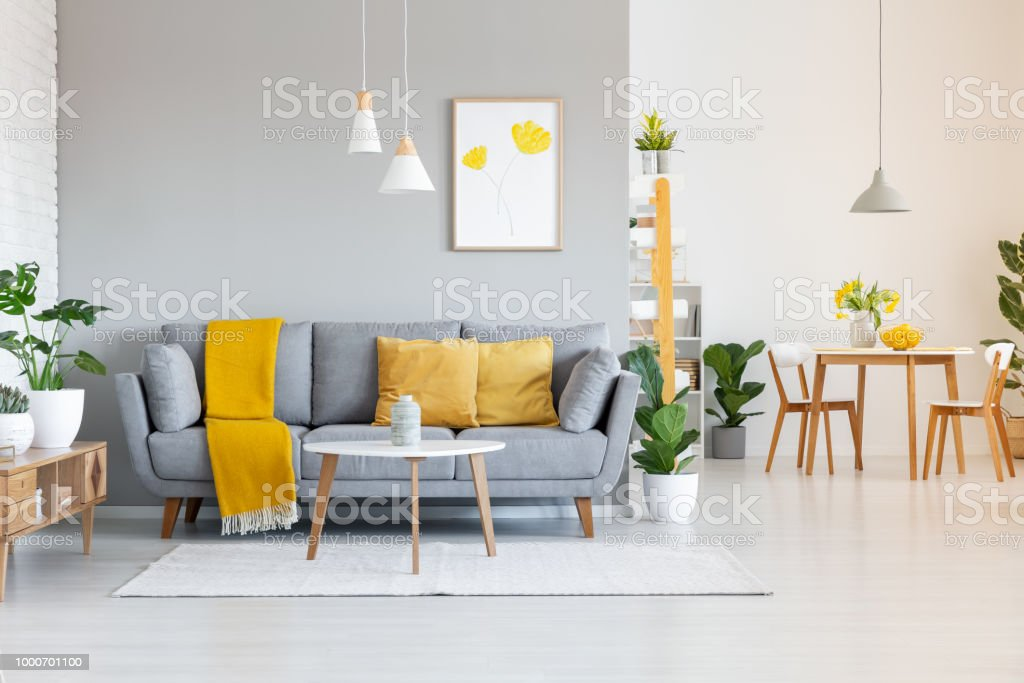 Orange Blanket On Grey Sofa In Modern Apartment Interior With Poster ...