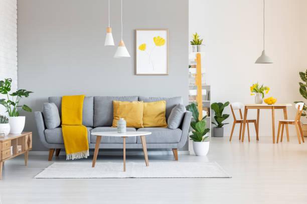 近代的なアパート インテリアにポスター、木製のテーブルの灰色のソファーにオレンジの毛布。実際の写真 - ソファ 無人 ストックフォトと画像