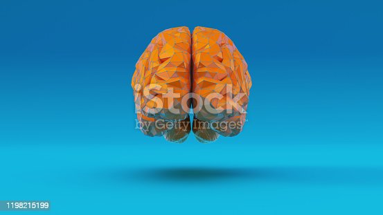 937060922 istock photo Orange Blue Cyber Brain Angular Artificial Intelligence with Blue Background Front View 1198215199