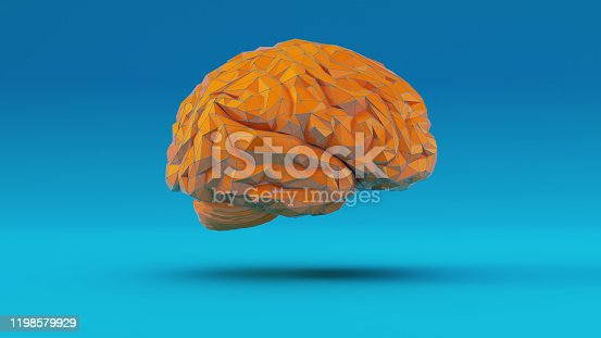 937060922 istock photo Orange Blue Cyber Brain Angular Artificial Intelligence with Blue Background Right View 1198579929